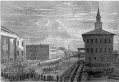 Woodcut depicting Gen. William T. Sherman's Union troops entering Savannah, Ga., during his infamous March to the Sea.