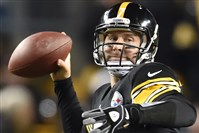 Steelers quarterback Ben Roethlisberger missed pregame drills because of a stomach illness, but passed for 191 of his 317 yards and one touchdown in the first half Sunday.