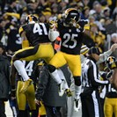Steelers cornerback Antown Blake and Brice McCain celebrate an interception at Heinz Field Sunday night.