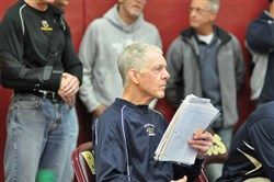 Butler assistant wrestling coach Fred Powell coached at Slippery Rock University from 1967-91 and is now helping out the Golden Tornado wrestlers.