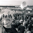 From the archives: In this Jan. 19, 1979, file photo, Pittsburgh Steelers coach Chuck Noll holds the Vince Lombardi Trophy as the Steelers arrive at a Pittsburgh airport after winning the NFL football Super Bowl. Noll, the Hall of Fame coach who won a record four Super Bowl titles with the Steelers, died on June 13, 2014. He was 82.