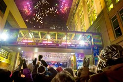 The fireworks show at midnight during the 2014 First Night at Penn Avenue and Stanwix Street.