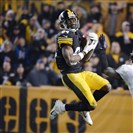 Antonio Brown makes a catch during the fourth quarter of the AFC Wildcard Game against the Baltimore Ravens at Heinz Field Saturday, January 3, 2015.