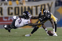 Steelers receiver Antonio Brown can't come up with the catch in the second quarter of the AFC wild-card game against the Ravens at Heinz Field in January.