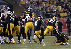 Steelers kicker Shaun Suisham (6) was the most consistent player on specials teams.