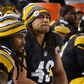 Troy Polamalu sits on the Steelers bench during their AFC wild-card playoff game against the Ravens.