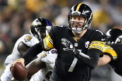 Ben Roethlisberger looks to make a play against the Baltimore Ravens at Heinz Field in January.