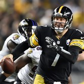 Steelers Ben Roethlisberger looks to make a pass downfield during the Steelers AFC wild-card game against the Ravens in January.