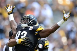 Jason Worilds celebrates his sack against the Cleveland Browns at Heinz Field in September.