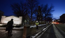 Dusk on Fifth Avenue at the University of Pittsburgh and Cathedral of Learning.