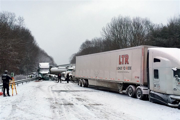 crash on Interstate 80 Two people were killed in the 17-vehicle pileup on Interstate 80 in Clarion County Wednesday afternoon.