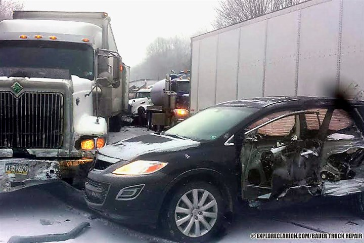 crash on Interstate 80 Seventeen vehicles, including eight tractor trailers, were involved in a crash on Interstate 80 Wednesday afternoon as a blinding snow squall moved into northwestern Pennsylvania.