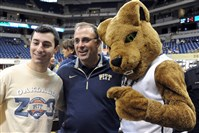 Pitt football head coach Pat Narduzzi made the rounds through the Oakland Zoo student section before the Panthers took on Clemson at the Petersen Events Center on Jan. 10. Pictured with Narduzzi is senior Nick Brenner and mascot Roc.