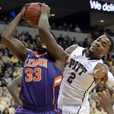 Clemson's Josh Smith pulls down a rebound against Pitt's Michael Young last season at Petersen Events Center.
