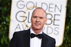 "Michael Keaton arrives at the 72nd annual Golden Globe Awards at the Beverly Hilton Hotel on Sunday. The Pittsburgh native took the award for best actor in a motion picture, musical or comedy for ""Birdman."""