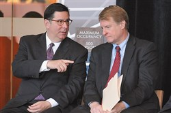 Pittsburgh Mayor Bill Peduto, left, isn't up for re-election until 2017. Allegheny County Executive Rich Fitzgerald, right, is running this year unopposed.