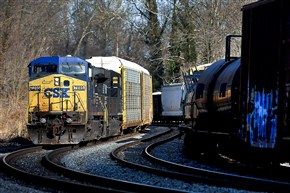 A CSX freight train winds through Arbutus, Md.