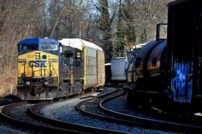 A CSX freight train winds through Arbutus, Md.
