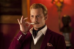 "Johnny Depp and his mustache star in the R-rated comedy ""Mortdecai."""