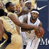 Pitt's Aron Phillips-Nwankwo, whose hard work is finally starting to show in games, grabs a rebound against Georgia Tech last weekend at Petersen Events Center.