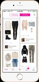 The interface of the StyleIt app, which makes outfit suggestions by populating picks from more than 450 retailers.
