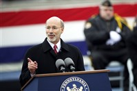 Tom Wolf delivers a speech after being sworn in as the 47th governor of Pennsylvania on Jan. 20.