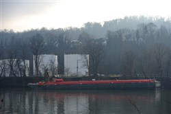 A barge carrying kerosene is offloaded at the Guttman Energy terminal along the Monongahela River in Charleroi
