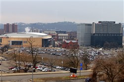 The site of the old Civic Arena with the Consol Energy Center.