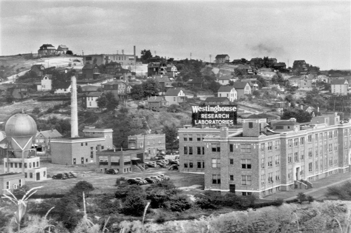 atomsmasher2-1 Known locally as the Westinghouse atom smasher, the Van de Graaf-type atomic accelerator was housed in the dome-topped building at bottom left of the company's Forest Hills research laboratories, shown here in 1937.