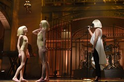 "Murrysville's Maddie Ziegler is only 12 but has been performing in high-profile music videos. Maddie, left, danced with Denna Thomsen on ""Saturday Night Live"" on Jan. 17 with Sia, right, singing ""Elastic Heart."""