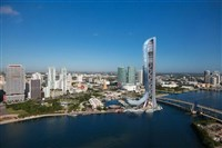 "In Miami, SkyRise, shown here in an artist's rendering, will feature a ""sky plunge"" jumping experience, a nightclub and other attractions."
