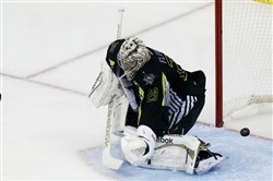 Penguins goalie Marc-Andre Fleury gives up one of the seven goals he allowed Sunday night in the NHL All-Star Game at Nationwide Arena in Columbus, Ohio.