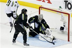 Marc-Andre Fleury, the lone Penguins representative, gave up seven goals in the second period for losing side Team Foligno in the NHL All-Star Game Sunday night.