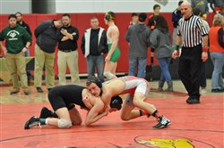 Avonworth's Darion Trimmer, right, wrestling against North Allegheny's Jake Hinkson at the Allegheny County Championships, is one of the Antelopes best hopes for the postseason.