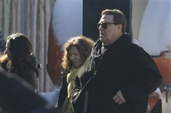 "Actor John Goodman arrives  for filming of the upcoming movie ""Let It Snow"" at the Lincoln Pharmacy in Millvale."