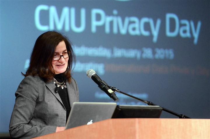 20150128MWHftcBiz03-1 Federal Trade Commissioner Julie Brill speaks at Carnegie Mellon University on Wednesday.