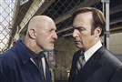 "Jonathan Banks as Mike Ehrmantraut and Bob Odenkirk as Saul Goodman in ""Better Call Saul."""