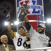 From the archives: Hines Ward and Jerome Bettis celebrate along side owner Dan Rooney after beating Seattle to win Super Bowl XL.