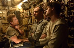 "From left, Branwell Donaghey as Gittens; Jude Law as Robinson and Bobby Schofield as Tobin in ""Black Sea."""