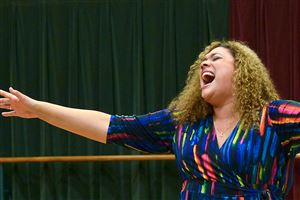 "Whitney Hayes of Bethel Park auditions at the Benedum for the CLO summer season with ""Blues in the Night."""
