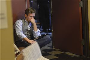 Blake Stadnik of Ellwood City waits nervously at the Benedum for his audition for the CLO summer season.