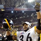 Jerome Bettis waves to his family after the Steelers' 21-10 win against the Seattle Seahawks in Super Bowl XL, 2006.