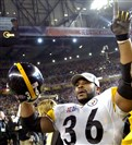 Jerome Bettis waves to his family at the end of the Super Bowl XL against the Seahawks at Ford Field Detroit Michigan, 2006.