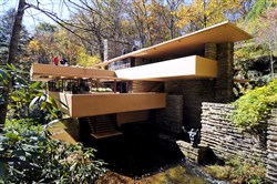 Fallingwater, which overhangs a waterfall on Bear Run in Fayette County, was built in 1936 for Pittsburgh department store owner Edgar Kaufmann Sr.