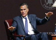 Former GOP presidential candidate Mitt Romney speaks at Mississippi State University Wednesday. Mr. Romney has discovered that many past major fundraisers and donors in key states have defected to former Florida Gov. Jeb Bush.