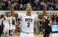 Pitt's Cameron Wright celebrates near the end of the Panthers; victory against Notre Dame Saturday at Petersen Events Center.
