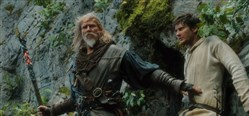 "Master Gregory, portrayed by Jeff Bridges trains Tom Ward played by Ben Barnes in  ""Seventh Son."""