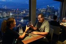 Helene and Regis McQuaide, Jr. of Mt. Lebanon get a nice view of Downtown at Altius restaurant in Mt. Washington.