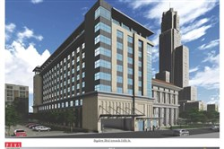 A rendering of the proposed hotel behind the PAA in Oakland.