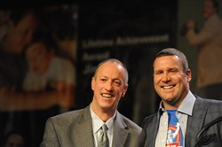 Ben Roethlisberger introduces Lifetime Achievement Award honoree Jim Kelly at the 79th Annual Dapper Dan Awards at the David L. Lawrence Convention Center Tuesday night.